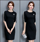 Ladies Office 1/2 Pearl Sleeve Career Formal Party Cocktail Prom Dress AU 6-18