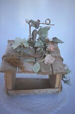 Wood And Faux Floral Novelty Bird House