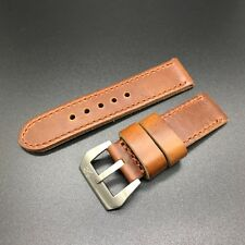 Premium Italian Brown 24mm Panerai Cow Leather Watch Strap Band+Tang Buckle