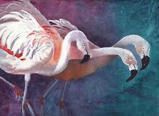 FLAMINGOES Original Watercolor Painting 9 x 12 inches