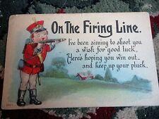 PostCard 1913 On the firing Line Good Luck 1913 Usa 1 cent Green Stamp Vintage