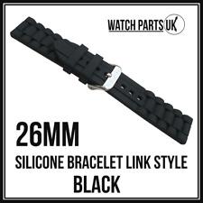 * Estilo de enlace 26mm Negro Pulsera Silicona Goma Reloj Correa De Alta Calidad 26mm *