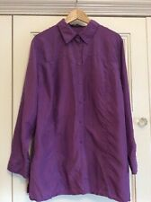 Maggie T Size 20 Purple Silk Long Sleeve Shirt Blouse Top 🍃