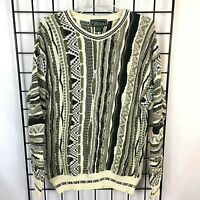 Vintage Coogi Style Sweater By Croft & Barrow Men's S/M Earth Tone Biggie