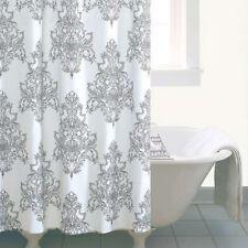 MND New Damask Style Versailles White Shower Curtain 100% Polyester Machine Wash