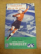 21/10/1953 England v Rest of The World [At Wembley] (Folded, Pencil Team Changes