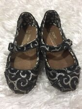 Toms Baby Girls Size 5 Mary Jane Style Shoes Black Silver Swirl Pattern