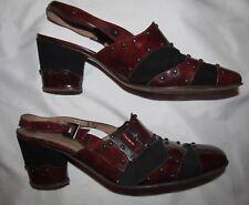 50's ROSINA FERRAGAMO SCHIAVONE studded patent tortoise slingback gothic shoes *