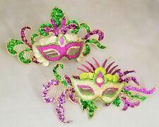 "Mardi Gras Mask Purple Green Gold Large Acrylic Ornament 8"" Set 2 Carnival"