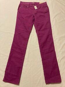 New Ann Taylor Modern Straight Leg Fuchsia Corduroy Pants Women's size 4