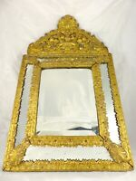 """24"""" Tall Antique 1860 Large French Beveled Mirror Brass Overlay Wood Repousse"""