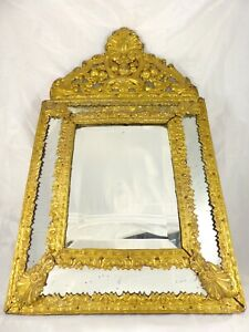"24"" Tall Antique 1860 Large French Beveled Mirror Brass Overlay Wood Repousse"
