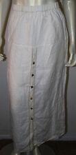 White Drop Waist Button Front Long Lagenlook Linen Skirt S 1