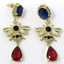 Vintage Oval Blue Sapphire Dangle Earrings Nickel Free Jewelry Gift 14K Gold