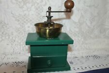 More details for vintage collectable coffee grinder green wood base and brass pan