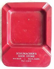 Vintage Hays Kansas Red Metal Schumacher's Shoe Store Ashtray/Coin/Button Tray