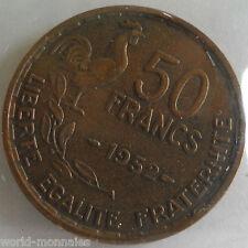 50 francs guiraud 1952 : TB : pièce de monnaie française