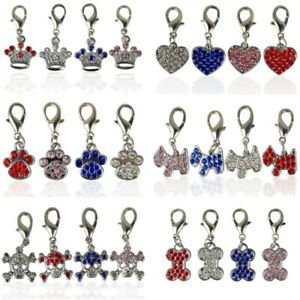 4/6pcs Rhinestone Pet Dog Tags for Dog Cat Collar Pendants Grooming Accessories