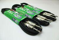 """Lynx Guitar Cable Lead 1/4"""" 6.35mm Mono Jack Plug Instrument Patch - 3m 6m 10m"""