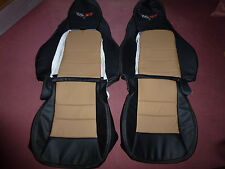 2005-2011 C6 Corvette Genuine Leather Seat Covers Black/Cashmere Standard Seats