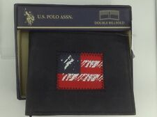 Men's U.S. POLO ASSN. Brand Black LEATHER Double BiFold Wallet-  $50 MSRP - 20%