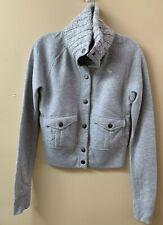 ABERCROMBIE Snap Front Sweatshirt Knit Collar Coat Jacket Pockets- Gray - S