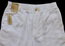 Men's CARIBBEAN White Pure LINEN Drawstring Pants 36x34 NWT Elastic Waist Nice!