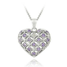 925 Silver Amethyst & Diamond Accent Heart Locket Necklace, 18""