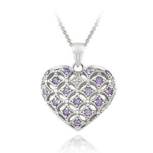 "925 Silver Amethyst & Diamond Accent Heart Locket Necklace, 18"""
