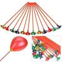 100 Pcs Plastic Balloon Holder Sticks Multicolor Cup Wedding Party Decor 27cm