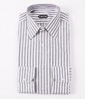 NWT $645 TOM FORD Gray-White Wide Stripe Cotton Dress Shirt 15.5 x 36 (Eu 39)