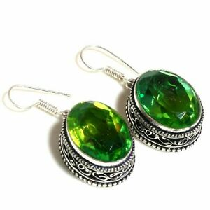 Chrome Diopside Gemstone Handmade 925 Sterling Silver Jewelry Earring 1.50 ""