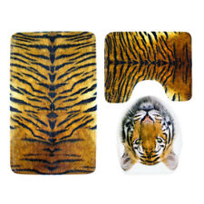 Baoblaze Tiger Print Flannel Toilet Lid Non Slip Bath Mat Bathroom Rug Set