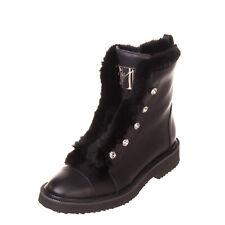 RRP€1380 GIUSEPPE ZANOTTI Leather Combat Boots EU 37.5 UK 4.5 US 7.5 Rabbit Fur