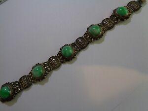 Chinese Export 1940s Cloisonne Enameled Silver Filigree Bracelet AppleGreen JADE