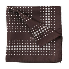 New $180 TOM FORD Chocolate Brown and White Dot Print Silk Pocket Square