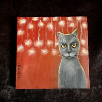 Cat Original Miniature 5in x 5 in acrylic painting on a canvas