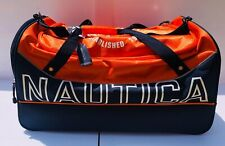 "Nautica Chronometer 25"" Duffle Bag Orange/Navy With Spell Out Logo"