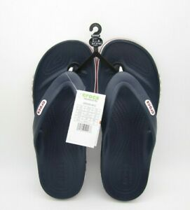 New W/ Tag Mens Crocs Bayaband Navy/Red/White Flip Flop Sandals Size 12US (A36)
