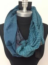 Men's Striped Circle Infinity Loop Scarf Shawl Wrap New Soft Teal ALL SEASONS