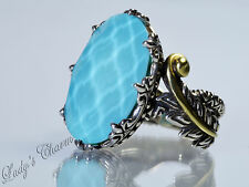Barbara Bixby Turquoise Doublet Feather Ring Sterling Silver 18K Gold Size 10