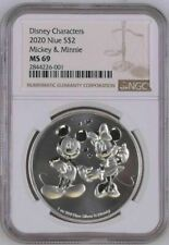 2020 NIUE $2 MICKEY & MINNIE MOUSE - NGC MS69 - SILVER