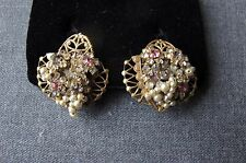 VINTAGE HASKELL RHINESTONES FLOWERS WIRED PEARLY BEADS FILIGREE METAL EARRINGS