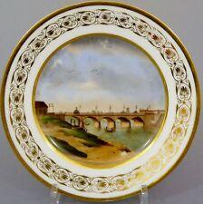 Biedermeier veduten assiette 'pont du Jardin du roi' paris, France de 1830