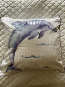 Pottery Barn Teen Sea Life Pillow Cover with Insert Dolphin Sequins Kids Accent