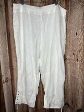 Soft Surroundings Plus Size 2X White Linen Ankle Lace Up Pants