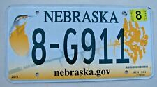 "NEBRASKA AUTO GRAPHIC LICENSE PLATE "" 8 G 911 ""  RESCUE FIRE EMT EMS EMERGENCY"
