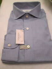 LORENZO UOMO WHITE LABEL-SLIM FIT-BLUE CHECK DRESS SHIRT-$125-17.5