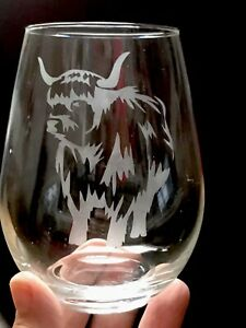 Stemless Wine Glass - Highland Cow  ***SEE ITEM DESCRIPTION ***