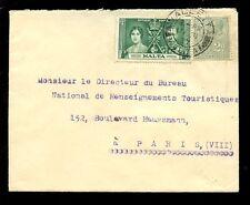 MALTA 1937 CORONATION + KG5 2d COMMERCIAL to PARIS...TONNA BARTHEL